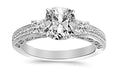 1.05 Ctw 14K White Gold Three 3 Stone Princess Cut Channel Set GIA Certified Diamond Engagement Ring Cushion Cut (0.55 Ct I Color SI1 Clarity Center Stone)
