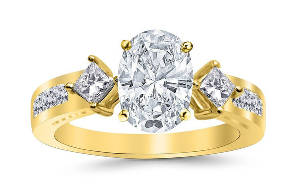 1.75 Ctw 14K White Gold Channel Set 3 Three Stone Princess Oval Cut GIA Certified Diamond Engagement Ring (1 Ct J Color VVS2 Clarity Center Stone)