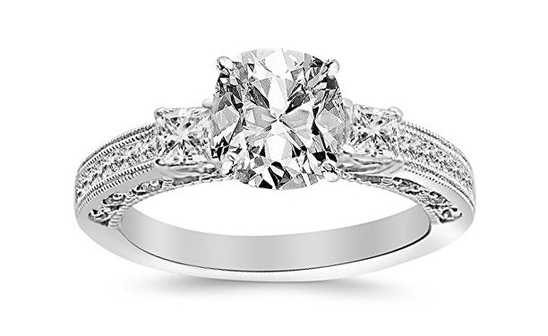 1.4 Ctw 14K White Gold Three 3 Stone Princess Cut Channel Set GIA Certified Diamond Engagement Ring Cushion Cut (0.9 Ct J Color VVS1 Clarity Center Stone)
