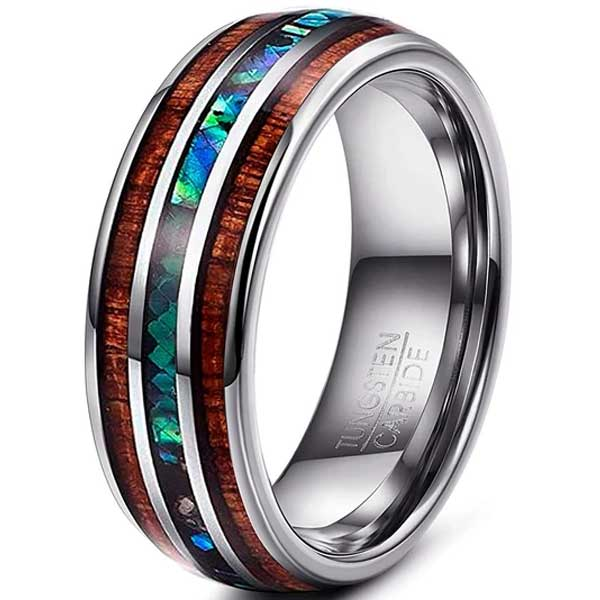 CERTIFIED 8mm Natural Abalone Shell & Hawaiian Koa Wood Tungsten Carbide Ring