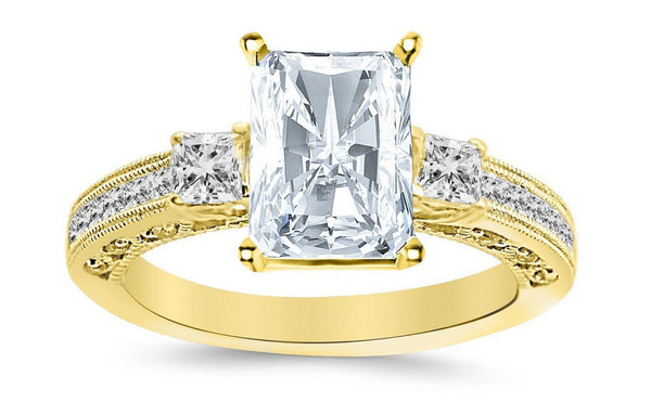 2.5 Ctw 14K White Gold Three 3 Stone Princess Cut Channel Set Radiant Cut GIA Certified Diamond Engagement Ring (2 Ct E Color VVS2 Clarity Center Stone)