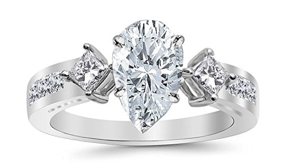 1.99 Ctw 14K White Gold Channel Set 3 Three Stone Princess Pear Cut GIA Certified Diamond Engagement Ring (1.24 Ct J Color SI1 Clarity Center Stone)