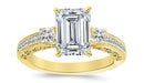 2.2 Ctw 14K White Gold Three 3 Stone Princess Cut Channel Set Emerald Cut GIA Certified Diamond Engagement Ring (1.7 Ct H Color VS1 Clarity Center Stone)