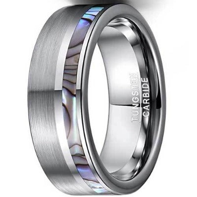CERTIFIED  8MM Natural Abalone Shell Tungsten Carbide Ring Flat Edges