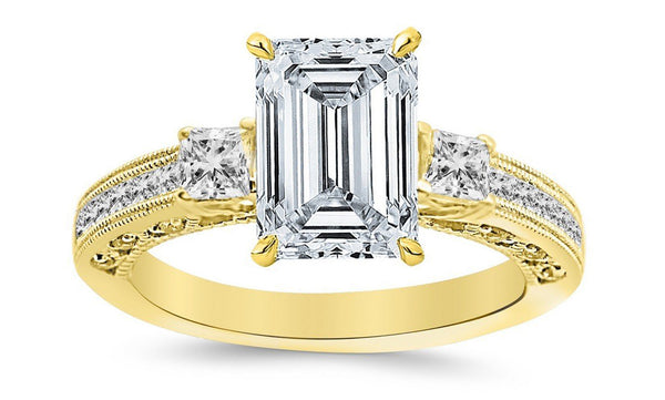 2.5 Ctw 14K White Gold Three 3 Stone Princess Cut Channel Set Emerald Cut GIA Certified Diamond Engagement Ring (2 Ct H Color VS2 Clarity Center Stone)