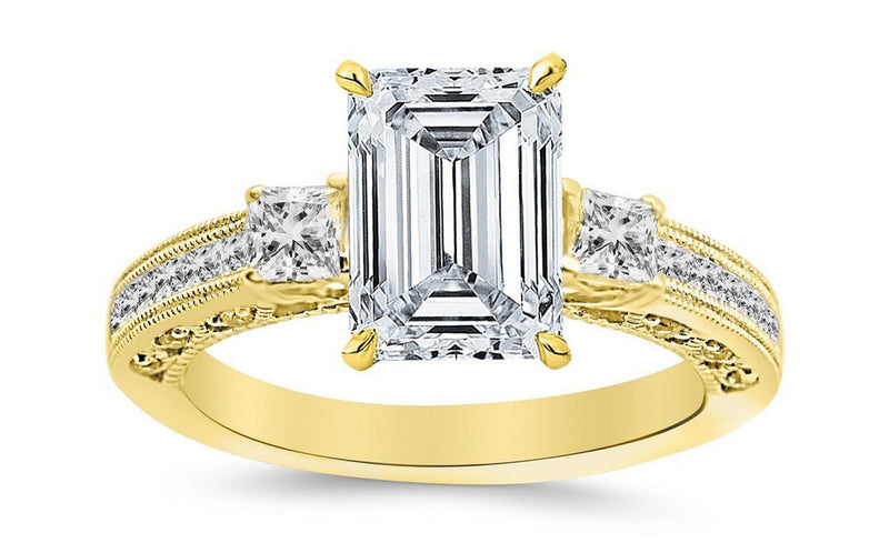 1.4 Ctw 14K White Gold Three 3 Stone Princess Cut Channel Set Emerald Cut GIA Certified Diamond Engagement Ring (0.9 Ct H Color VVS2 Clarity Center Stone)