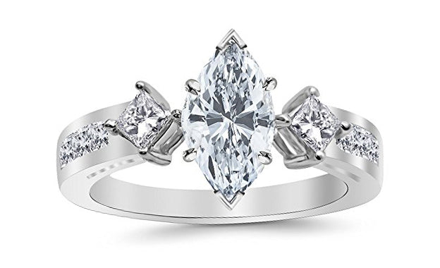 1.75 Ctw 14K White Gold Channel Set 3 Three Stone Princess Marquise Cut GIA Certified Diamond Engagement Ring (1 Ct G Color SI2 Clarity Center Stone)