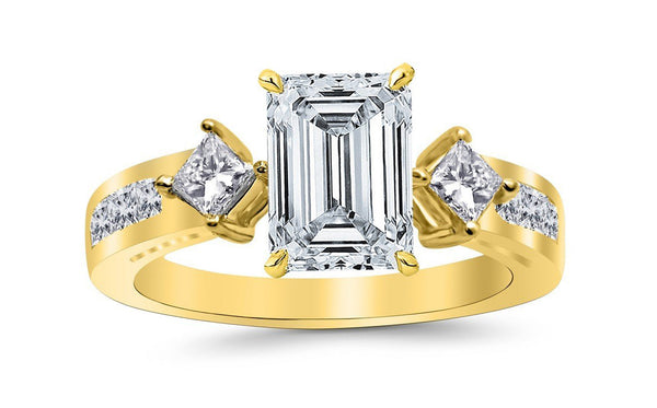 1.5 Ctw 14K White Gold Channel Set 3 Three Stone Princess Emerald Cut GIA Certified Diamond Engagement Ring (0.75 Ct K Color VS2 Clarity Center Stone)