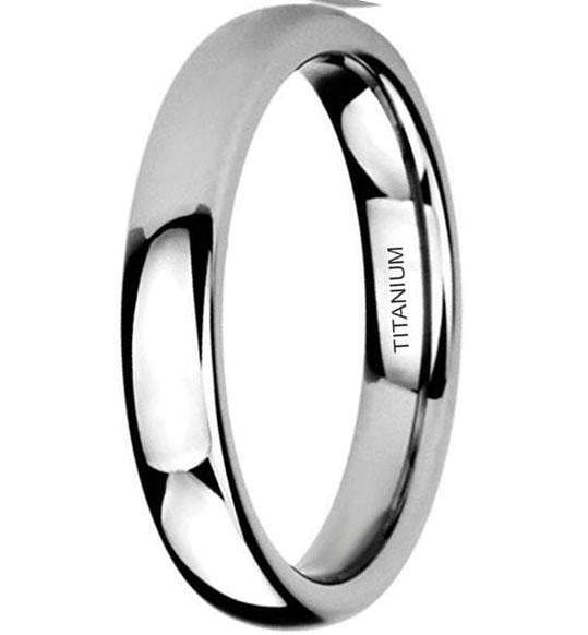 CERTIFIED 4MM Domed Polished Comfort Fit Titanium Wedding Ring Band