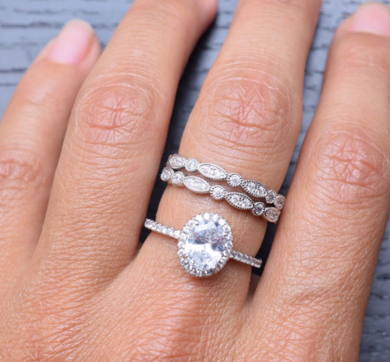 CERTIFIED Engagement Sets Wedding Rings 925 Sterling Silver 3pcs White Cz