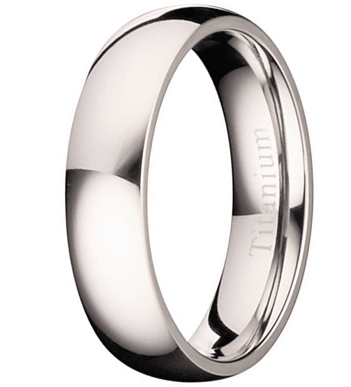 CERTIFIED 5MM Polished Comfort Fit Titanium Wedding Ring Band
