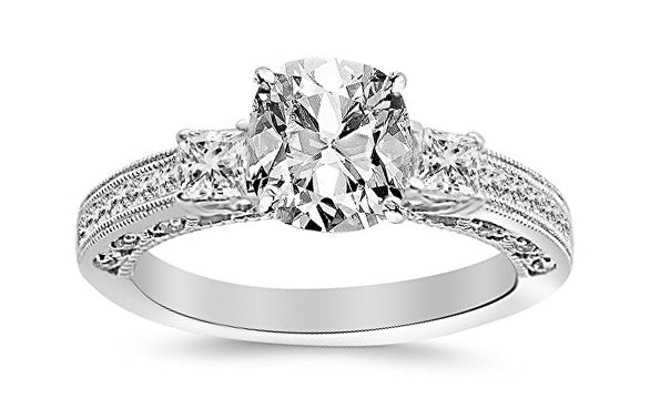 bik 1.5 Ctw 14K White Gold Three 3 Stone Princess Cut Channel Set GIA Certified Diamond Engagement Ring Cushion Cut (1 Ct F Color VVS2 Clarity Center Stone)