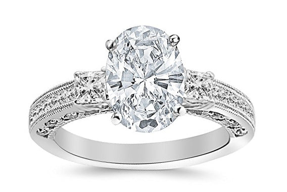 bik 1 Carat 14K White Gold Three 3 Stone Princess Cut Channel Set Oval Cut GIA Certified Diamond Engagement Ring (0.48 Ct E Color VS2 Clarity Center Stone)