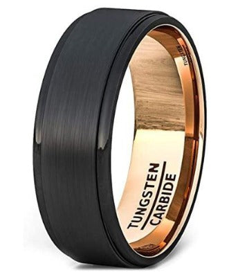 CERTIFIED 8mm Mens Wedding Band Two Tone Black Rose Gold Tungsten Ring Brushed Center Step Edge