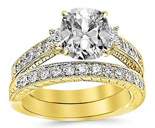 GIA CERTIFIED | 2.03 Ctw 14K Three Stone Vintage Milgrain & Filigree Bridal Set Near Colorless (G-H)