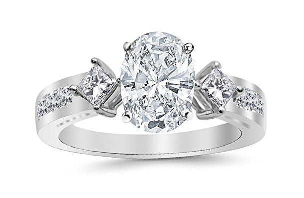 1.94 Ctw 14K White Gold Channel Set 3 Three Stone Princess Oval Cut GIA Certified Diamond Engagement Ring (1.19 Ct E Color SI2 Clarity Center Stone)