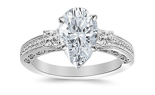 2.22 Ctw 14K White Gold Three 3 Stone Princess Cut Channel Set Pear Cut GIA Certified Diamond Engagement Ring (1.72 Ct F Color VS2 Clarity Center Stone)