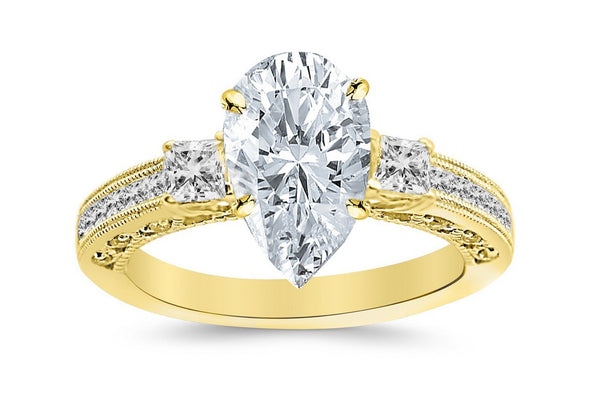 2 Ctw 14K White Gold Three 3 Stone Princess Cut Channel Set Pear Cut GIA Certified Diamond Engagement Ring (1.5 Ct H Color SI2 Clarity Center Stone)