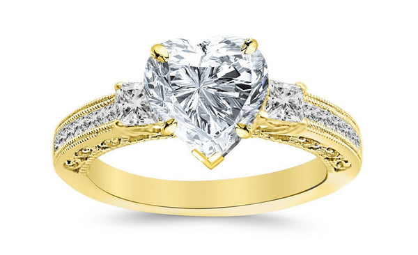 1.29 Ctw 14K White Gold Three 3 Stone Princess Cut Channel Set Heart Shape GIA Certified Diamond Engagement Ring (0.79 Ct I Color VS2 Clarity Center Stone)