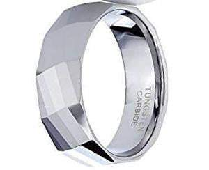 CERTIFIED 8mm Polished Facet Cut Shiny Tungsten Carbide Wedding Band Ring