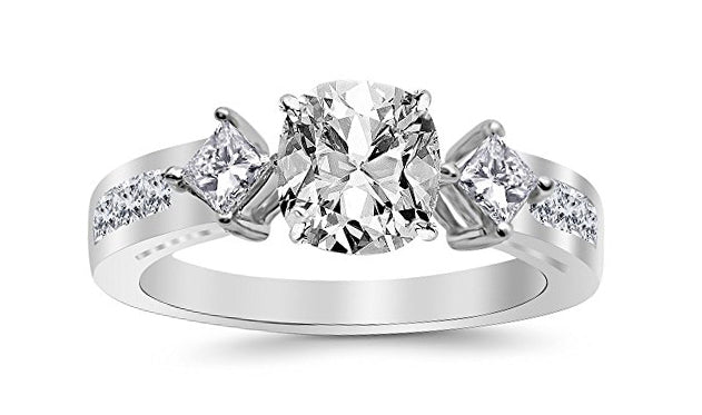 1.75 Ctw 14K White Gold Channel Set 3 Three Stone Princess GIA Certified Diamond Engagement Ring Cushion Cut (1 Ct D Color VVS2 Clarity Center Stone)