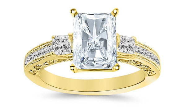 2.43 Ctw 14K White Gold Three 3 Stone Princess Cut Channel Set Radiant Cut GIA Certified Diamond Engagement Ring (1.93 Ct H Color SI2 Clarity Center Stone)