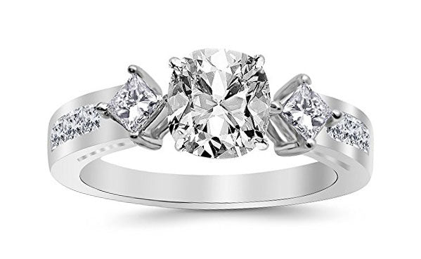1.75 Ctw 14K White Gold Channel Set 3 Three Stone Princess GIA Certified Diamond Engagement Ring Cushion Cut (1 Ct F Color SI2 Clarity Center Stone)