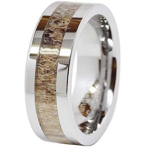 CERTIFIED 8mm Tungsten Rings Wedding Band Deer Antler Inlaid Hammer Flat Band
