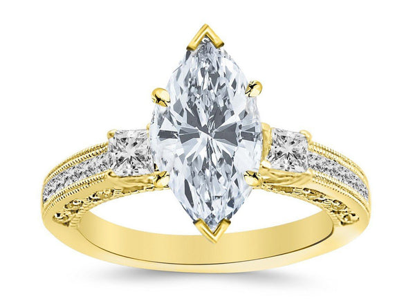 1.04 Ctw 14K White Gold Three 3 Stone Princess Cut Channel Set Marquise Cut GIA Certified Diamond Engagement Ring (0.54 Ct E Color VVS2 Clarity Center Stone)