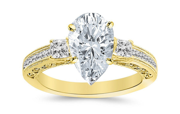 1.5 Ctw 14K White Gold Three 3 Stone Princess Cut Channel Set Pear Cut GIA Certified Diamond Engagement Ring (1 Ct F Color SI1 Clarity Center Stone)