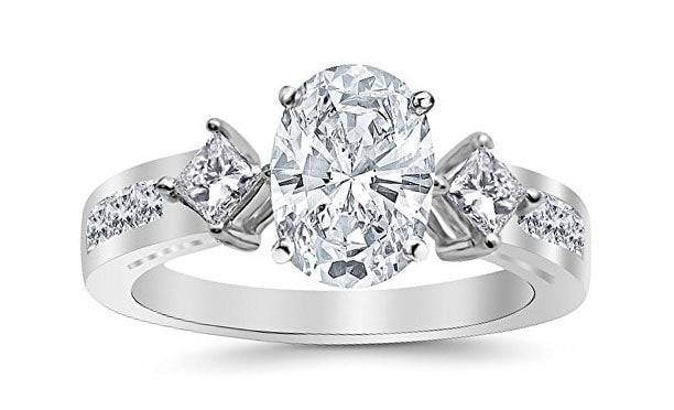 3.75 Ctw 14K White Gold Channel Set 3 Three Stone Princess Oval Cut GIA Certified Diamond Engagement Ring (3 Ct E Color SI2 Clarity Center Stone)