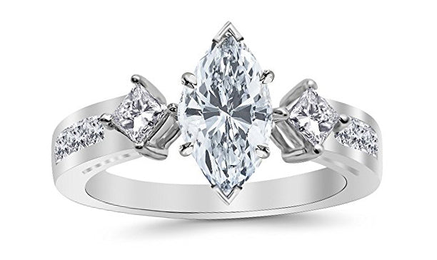 2.01 Carat 14K White Gold Channel Set 3 Three Stone Princess Marquise Cut GIA Certified Diamond Engagement Ring (1.26 Ct I Color SI2 Clarity Center Stone)
