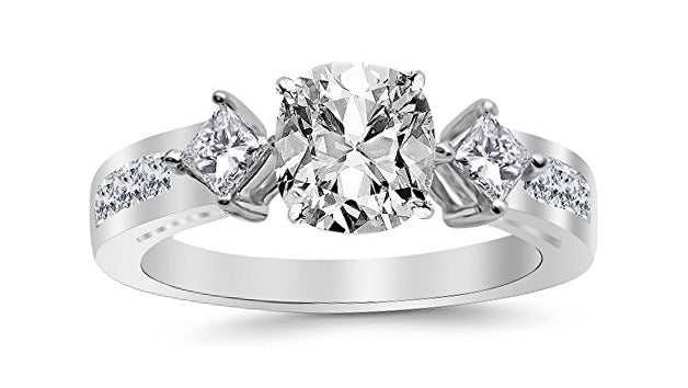 2.25 Ctw 14K White Gold Channel Set 3 Three Stone Princess GIA Certified Diamond Engagement Ring Cushion Cut (1.5 Ct D Color SI1 Clarity Center Stone)