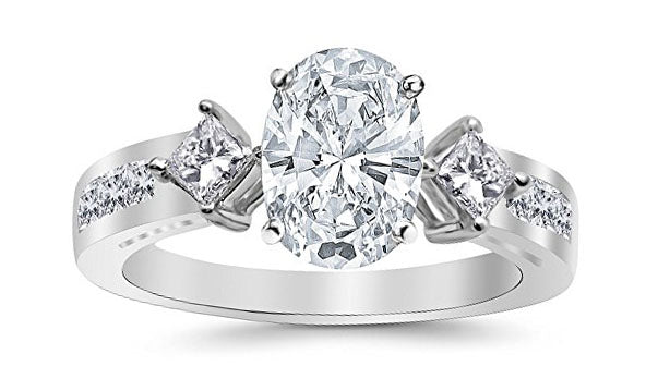 1.75 Ctw 14K White Gold Channel Set 3 Three Stone Princess Oval Cut GIA Certified Diamond Engagement Ring (1 Ct E Color VS2 Clarity Center Stone)