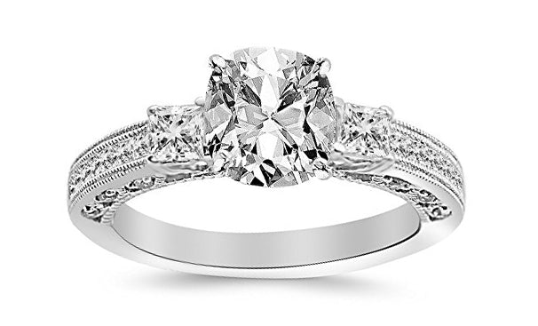 1.5 Ctw 14K White Gold Three 3 Stone Princess Cut Channel Set GIA Certified Diamond Engagement Ring Cushion Cut (1 Ct F Color VS2 Clarity Center Stone)