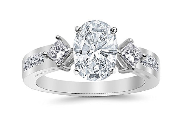 1.25 Ctw 14K White Gold Channel Set 3 Three Stone Princess Oval Cut GIA Certified Diamond Engagement Ring (0.5 Ct H Color SI2 Clarity Center Stone)