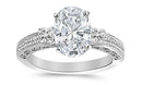 1.09 Ctw 14K White Gold Three 3 Stone Princess Cut Channel Set Oval Cut GIA Certified Diamond Engagement Ring (0.59 Ct F Color VS2 Clarity Center Stone)