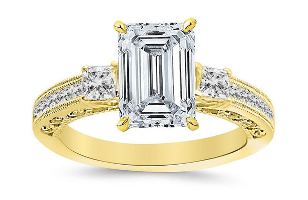 2.5 Ctw 14K White Gold Three 3 Stone Princess Cut Channel Set Emerald Cut GIA Certified Diamond Engagement Ring (2 Ct G Color VS1 Clarity Center Stone)