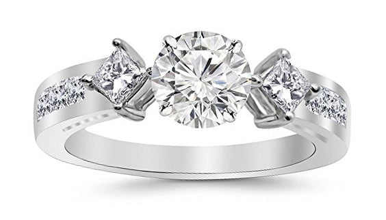 2.25 Carat 14K White Gold Channel Set Past Present Future 3 Stone Princess GIA Certified Round Cut Diamond Engagement Ring (1.5 Ct I Color VS2 Clarity Center Stone)