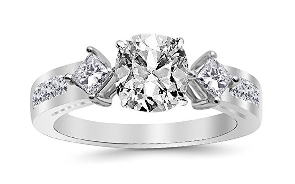 bik 1.35 Ctw 14K White Gold Channel Set 3 Three Stone Princess GIA Certified Diamond Engagement Ring Cushion Cut (0.6 Ct I Color VVS2 Clarity Center Stone)