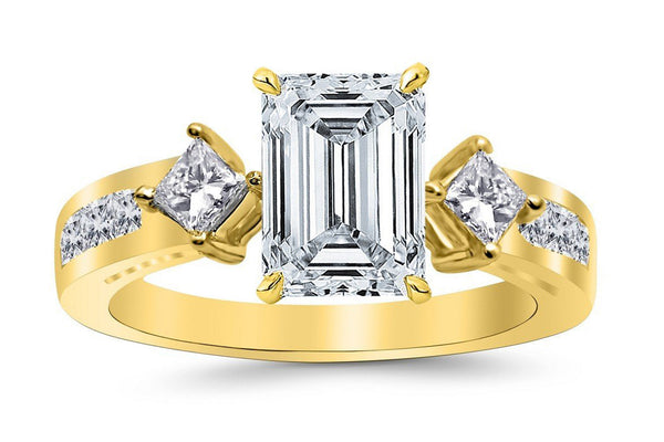 1.75 Ctw 14K White Gold Channel Set 3 Three Stone Princess Emerald Cut GIA Certified Diamond Engagement Ring (1 Ct H Color VVS2 Clarity Center Stone)