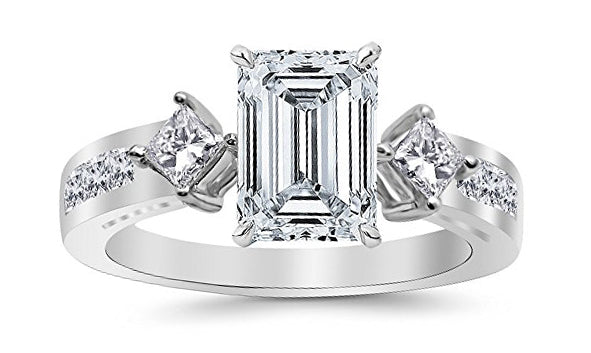 bik 1.75 Ctw 14K White Gold Channel Set 3 Three Stone Princess Emerald Cut GIA Certified Diamond Engagement Ring (1 Ct H Color VVS2 Clarity Center Stone)
