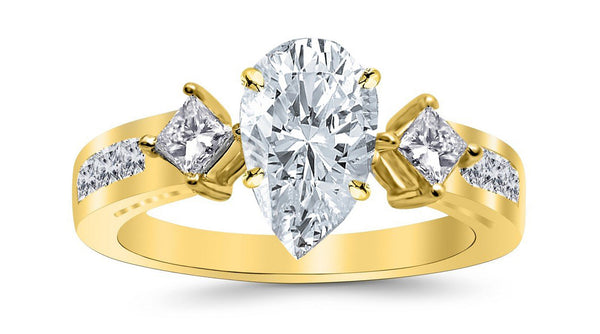 2.25 Ctw 14K White Gold Channel Set 3 Three Stone Princess Pear Cut GIA Certified Diamond Engagement Ring (1.5 Ct H Color SI2 Clarity Center Stone)