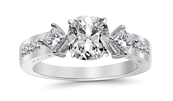 1.95 Ctw 14K White Gold Channel Set 3 Three Stone Princess GIA Certified Diamond Engagement Ring Cushion Cut (1.2 Ct E Color VS1 Clarity Center Stone)