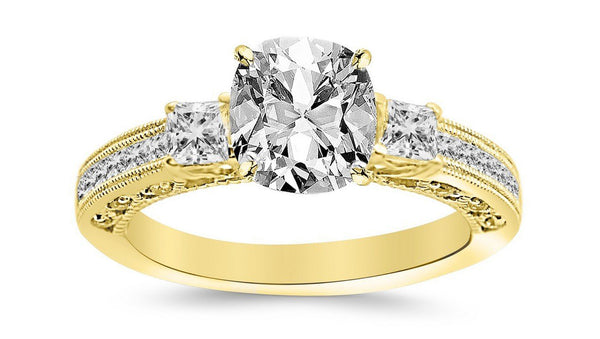 1.25 Ctw 14K White Gold Three 3 Stone Princess Cut Channel Set GIA Certified Diamond Engagement Ring Cushion Cut (0.75 Ct H Color VVS2 Clarity Center Stone)