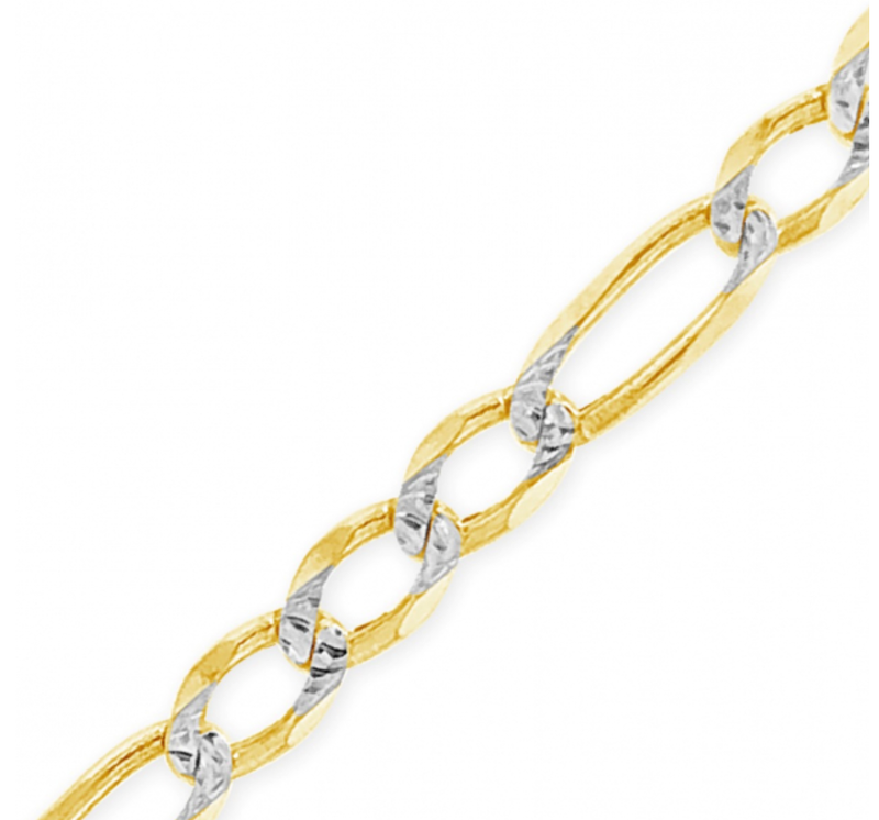 CERTIFIED 2.5mm 10k Two Tone Yellow & White Gold Hollow Figaro Chain Necklace