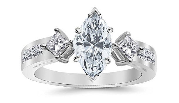 1.25 Ctw 14K White Gold Channel Set 3 Three Stone Princess Marquise Cut GIA Certified Diamond Engagement Ring (0.5 Ct K Color VVS1 Clarity Center Stone)
