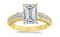 3.5 Ctw 14K White Gold Three 3 Stone Princess Cut Channel Set Emerald Cut GIA Certified Diamond Engagement Ring (3 Ct J Color VS2 Clarity Center Stone)