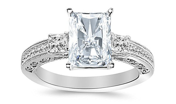 3.01 Carat 14K White Gold Three 3 Stone Princess Cut Channel Set Radiant Cut GIA Certified Diamond Engagement Ring (2.51 Ct I Color VS2 Clarity Center Stone)