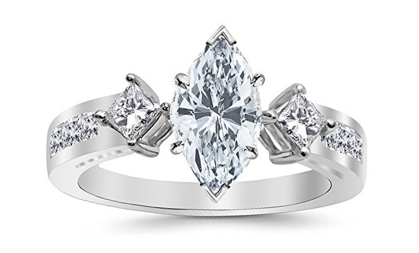 1.29 Ctw 14K White Gold Channel Set 3 Three Stone Princess Marquise Cut GIA Certified Diamond Engagement Ring (0.54 Ct J Color VS2 Clarity Center Stone)